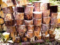[DIY][4/4]仕事をしながら細々と|タープに防水処理、赤松を玉切り