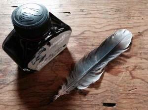 拾った羽根で付けペン