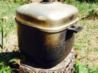 陽だまりの湯:太陽光で行水用の水を温める
