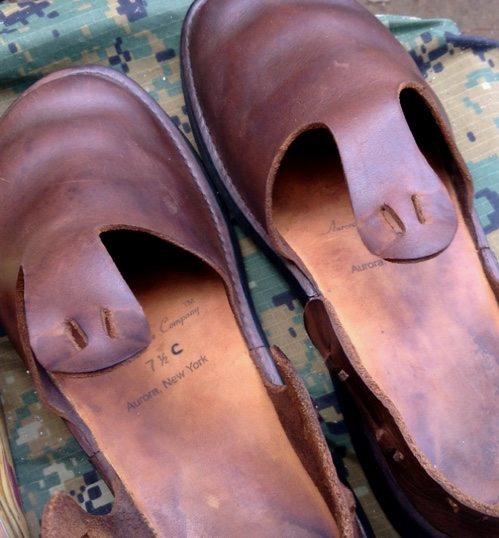水洗いした革靴